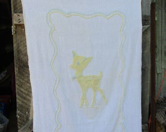 Vintage chenille baby blanket with yellow baby deer