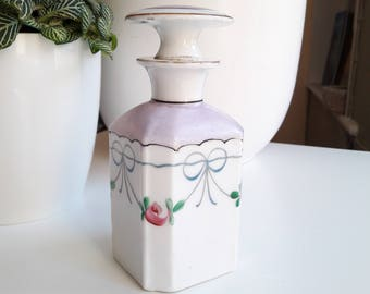 Rare bottle old Paris porcelain, wall decor vintage Louis Phillippe (1830) / french antic perfume bottle in Hand-painted ceramic 1830