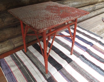 Orange Wicker Table Garden Furniture Cottage Red Rattan Square Dining Table Shabby Chic French Country Woven Farmhouse Outdoor Table
