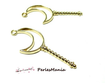 4 charms SCEPTER Moon gold 54mm for resin and polymer clay H504G creations