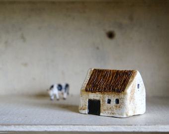 Miniature Irish Barn Hand Painted Paper Clay -- Handmade in Ireland