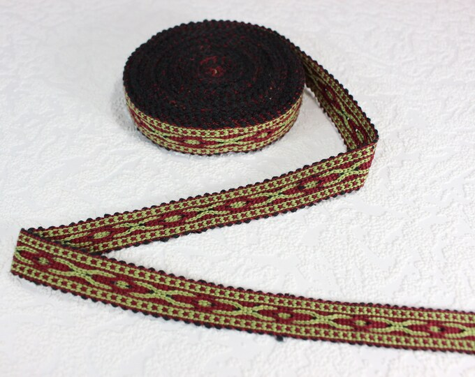 Woven Trim (6 yards), Woven Border, Cotton Ribbon, Grosgrain Ribbon, Dress Border, Border Trim, R248