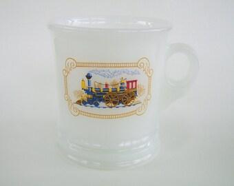Vintage Train Engine Shaving Mug Milk Glass Avon Locomotive
