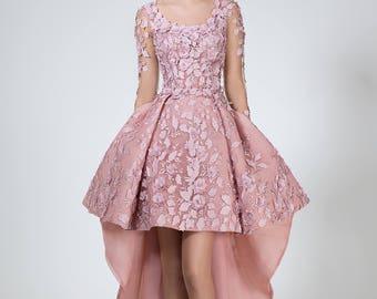 Short wedding dress in blush, Hi low wedding dress, Short bridal dress, Modern Chic wedding dress with flowers, Fairy summer wedding dress