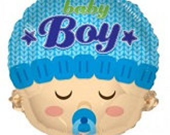 """Blue Baby Boy Head Balloon, Baby Boy Head Balloon, Baby Shower, Baby Gift, Gender Reveal, Party Decoration, Shower Decoration, Baby Boy, 18"""""""