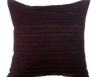 Brown Couch Sofa Cushion Covers 26 X 26 Euro Sham Covers Brown Linen  Pintucks Textured Decorative
