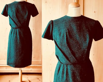 1950s Forest Green boucle wiggle dress xs