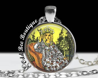 """Tarot Card The Empress Necklace - Wiccan Pagan Jewelry - Rider Tarot Deck Artwork - Fortune Teller - 1"""" Silver & Glass Pendant"""