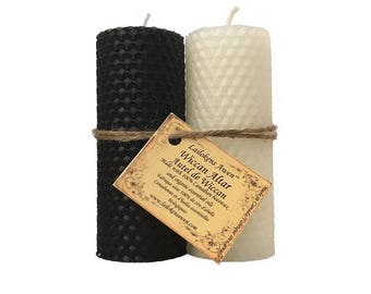 """Wiccan Altar Candle Set - Two 4 1/4"""" Beeswax Pillar Candles, one White one Black"""