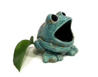 Ceramic Frog Sponge Holder - Teal Blue