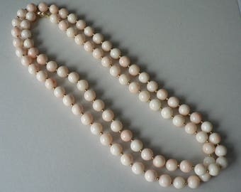 """Angelskin Coral 36"""" Necklace with 14K Clasp"""