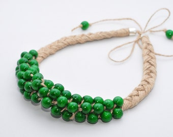 Green wooden berries Natural Linen Rustic Necklace  Eco jewelry for Her Ethnic necklace Chunky green necklace Beaded Necklace Eco Friendly