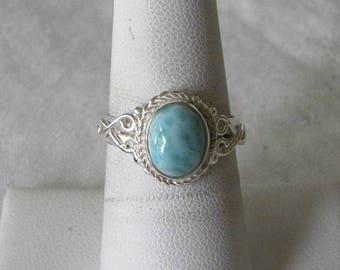 Larimar Ring Handmade Ring Natural Dominican Larimar 8x10mm Blue Gemstone Sterling Silver Ring Size 6 - 10 Take 20% Off Blue Larimar Jewelry