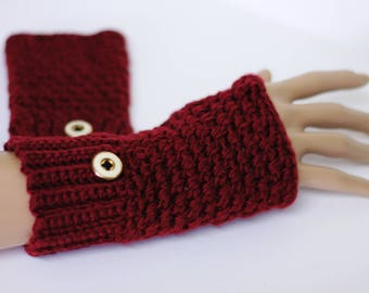 Texting gloves/driving gloves/fingerless mittens - extra fine merino with buttons (dark maroon red)