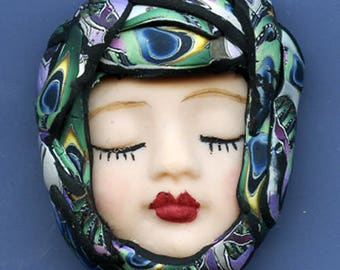 Polymer Clay One of a Kind   Detailed  Art Doll Face with hat Cab ACF 1