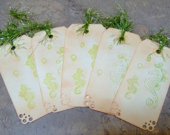 Vintage Seahorse Themed Gift Tags - Set of 5 Medium Tags in Lime Green - Hand Stamped and Ink Distressed