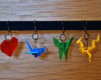 Colourful Origami Earrings (Crane, Fish, Dragon, Butterfly, Heart, Dinosaurs and More) Made to Order