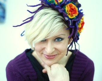 Rainbow headpiece unique necklace with felted flowers/ pick your favorite color