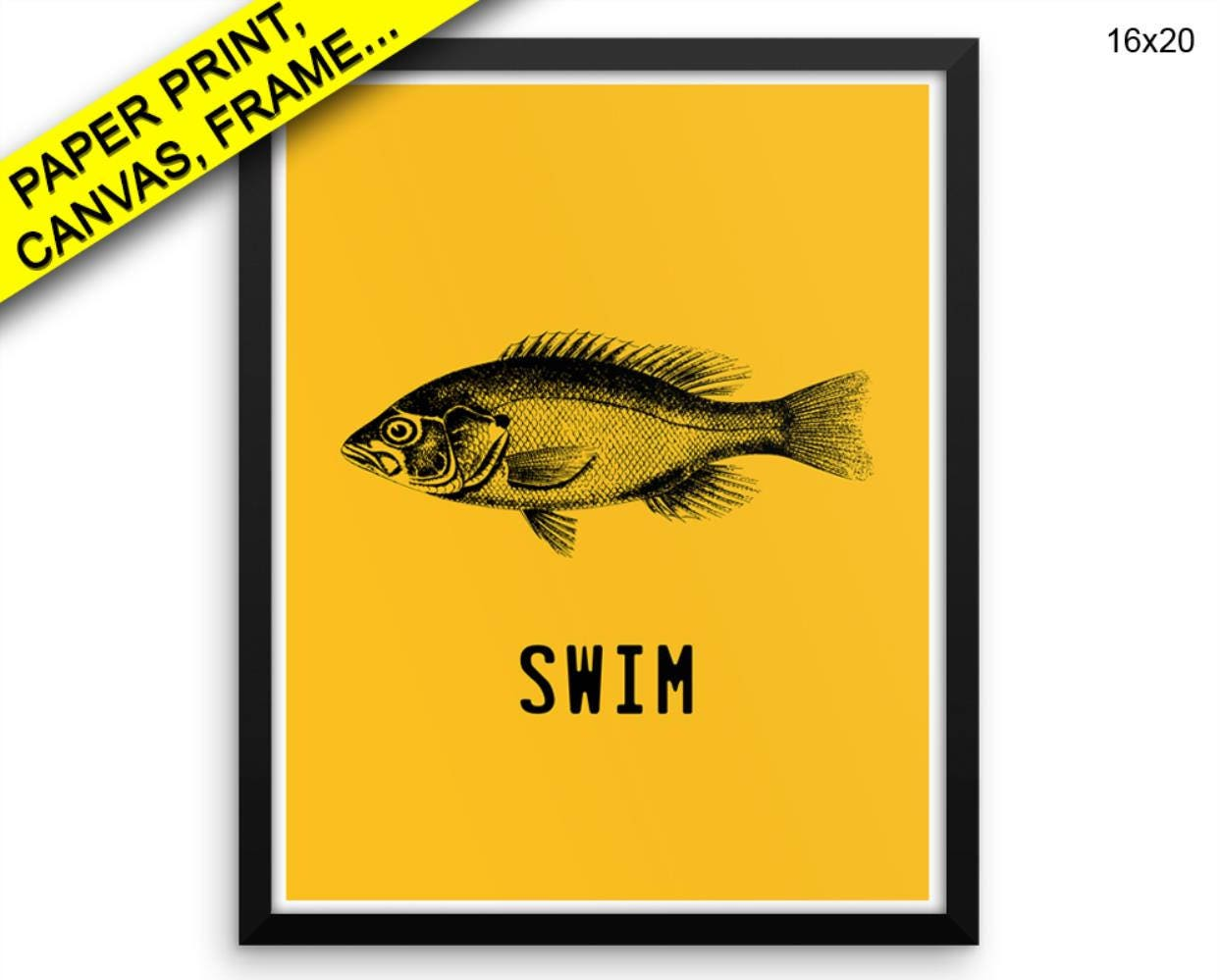 Fish Printed Poster Swim Framed Fish Office Art Swim Office