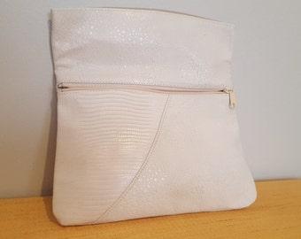 ON SALE, White Clutch, Leather Clutch, Vintage clutch, White purse, Bendable Clutch, faux leather, Custom leather Purse, White Purse, Medium