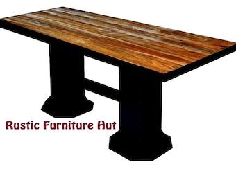 Industrial Reclaimed Wood U0026 Steel Pub Table, Vintage Industrial Dining Table,  Steel Top I Beam Base Tables