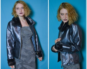 90s silver club kid jacket with faux fur collar and cuffs