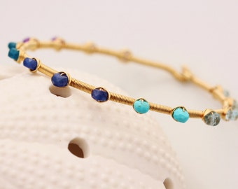 Gemstone Bangle, 14K Gold Filled, Moss Aquamarine, Blue Topaz, Turquoise, Sapphire, Apatite, Amethyst, Tanzanite