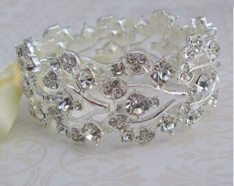 Adjustable Bracelet, Crystal bracelet, bridal jewelry, Ribbon bracelet, Bridesmaids Bracelet, Wedding Jewelry, Petite to Plus size