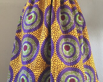 Beautiful African Wax Print High Waisted Skirt Fit and Flare Yellow Green Purple Nsu Bura Print 100% Cotton Any Length With Pockets