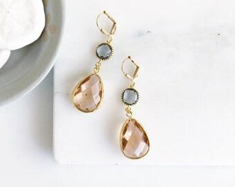 Wedding Bridesmaid Earrings. Bridesmaid Gift. Wedding Jewelry. Bridal Champagne Charcoal Dangle Earrings. Bridesmaid Earrings Jewelry Gold.