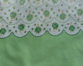 Vintage Feed Sack Pillow Ticking Green and White Rose Border Pattern 36 by 42 Inches