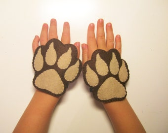 Bear felt cuffs 2 pcs - brown handmade animal costume accessory for boy girl kids adults - dress up play Photo booth props Theatre roleplay