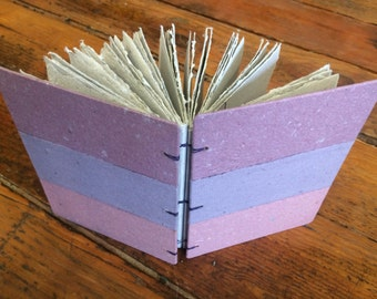 Purple striped journal, handmade paper journal, sketch book, travel journal, guest book, recycled guestbook, hand bound book, recycled book