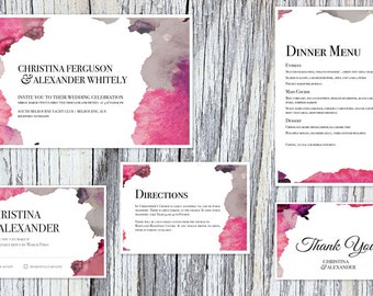 Watercolour Wedding Invitation Suite - Print at Home Files or Printed Invitations - Stormy Skies Watercolor Wedding Stationery Suite