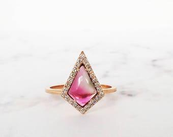 Pink Tourmaline ring, Unique engagement ring, Rose Gold Engagement ring, Halo diamond ring, Geometric engagement ring, Wedding, Gemstone