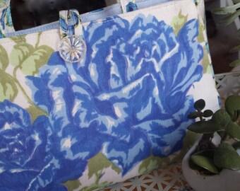 Vintage Blue Rose Handbag - Mid Century Textiles - Handmade Purse