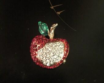 Vintage Pave Apple Brooch Pin