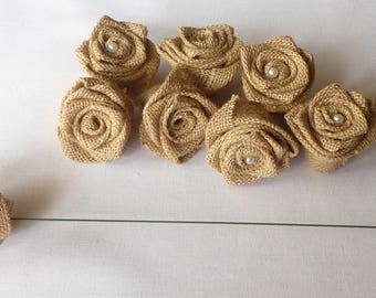 Flowers on stem in Burlap in packs of 15 (made to order)