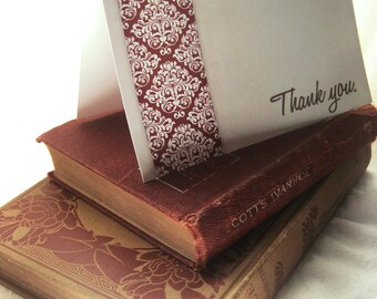Damask Stripe - Blank 4x5.5 Thank You Note Card, Single or Set of 4 - Burgundy Red Grey Gray - Elegant Neutral Stationary