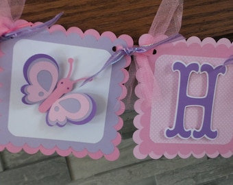 Butterfly Birthday Banner, Happy Birthday Butterfly Banner, Purple pink Birthday banner, Matching Tissue Pom Poms Available