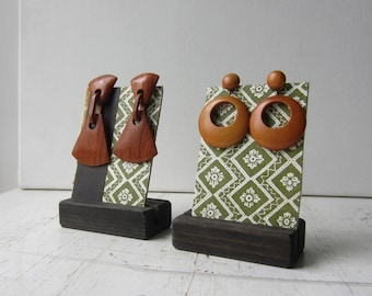 Pair Earring Displays - Green and White Geometric Pattern - Reversible Recycled Vintage Book Jewelry Display - Ready to Ship