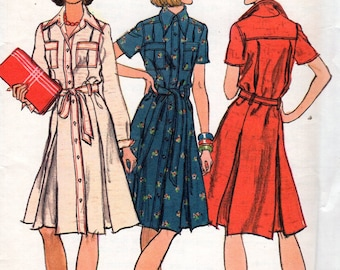 Vogue 8955 Free Us Ship Vintage Retro 1970s 70s Shirtdress Dress Inverted Pleat Belt Yoked Sewing Pattern Size 10 Bust 32.5 Uncut
