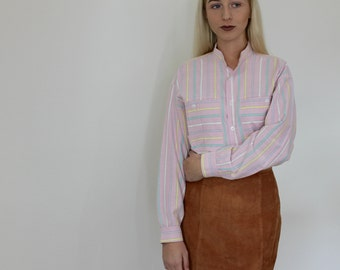 Pink Striped Band Collar Buttoned Shirt - Vintage