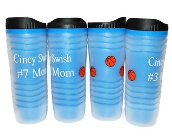 Personalized Travel Mug, Light Blue With Basketballs For a Fun Design, Travel Mug, Tumbler, Water Bottle BPA Free, Teacher Gift