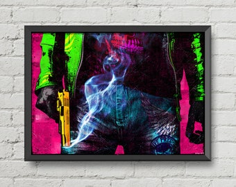 Smoking gun,digital print,poster,pop art,art,gun,pop,pink,green,yellow,blue,jeans,artwork