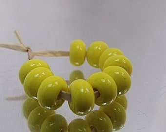 Yellow, Lampwork Spacer Beads, SRA, UK