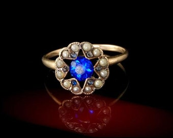 Antique Early Victorian 10k Gold Sapphire Paste Seed Pearl Ring