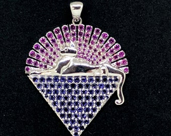 Jerry Garcia, Sterling Silver Cats Down Under the Stars Pendant with Rhodolite Garnet & Iolite Gems with Lyrics on back, Grateful Dead