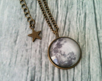 Full moon necklace, space necklace, astronomy, bronze pendant, geek jewelry, universe, solar system, star, galaxy, gift idea