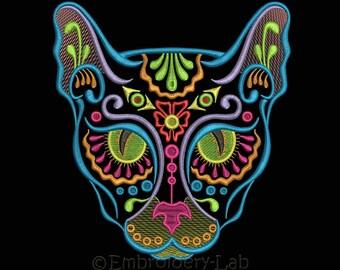 Calavera Cat 0001 - machine embroidery designs / Dia de los muertos / Day of the dead